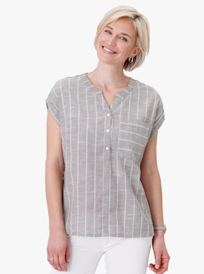 Bluse - taupe-gestreift