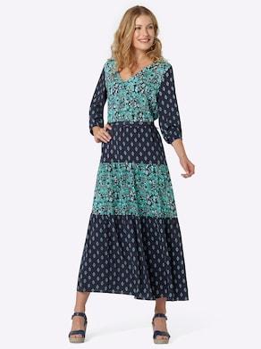Kleid - marine-mint-bedruckt