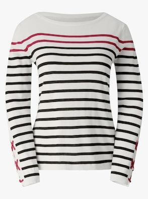 Pullover - weiß-schwarz-gestreift