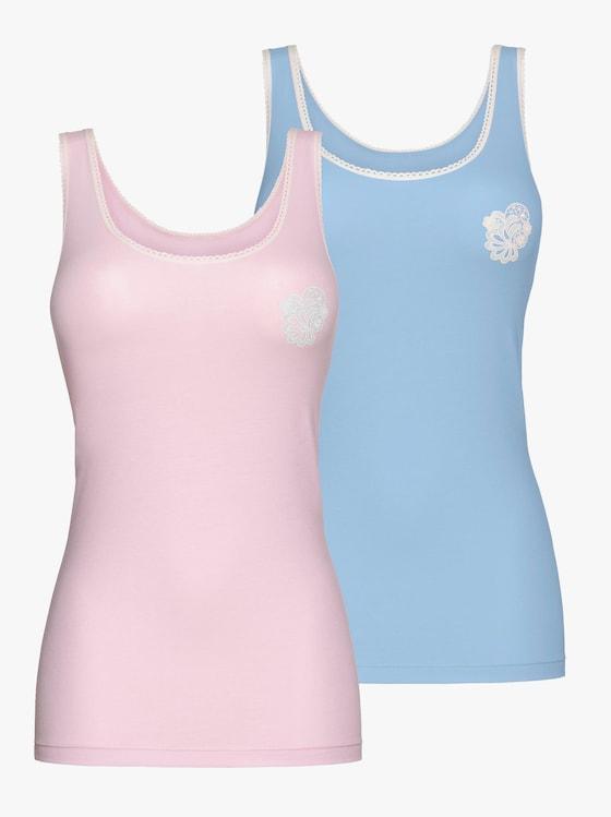 wäschepur Achselhemd - rosé + blau
