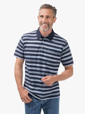 Kurzarm-Poloshirt - marine-gestreift