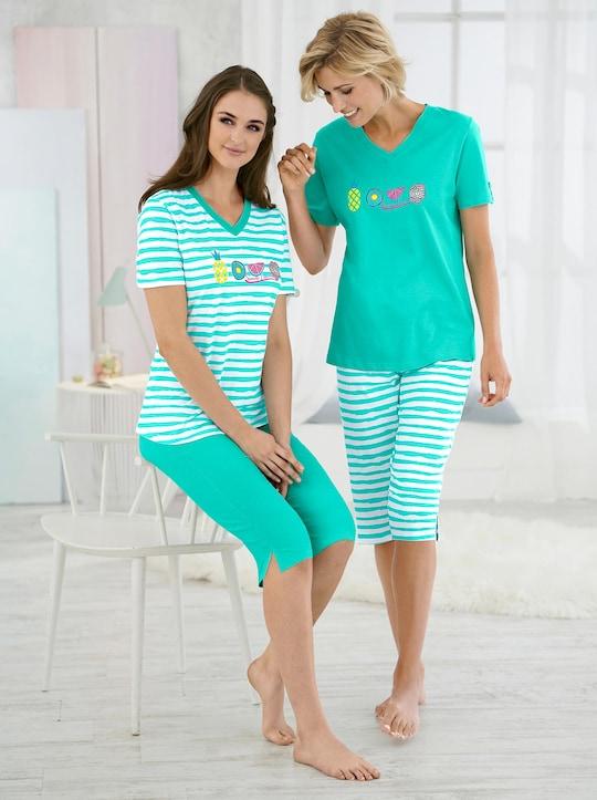 Comtessa Capri-Anzüge - grün + grün-geringelt