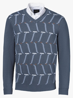 Pullover - rauchblau-gemustert