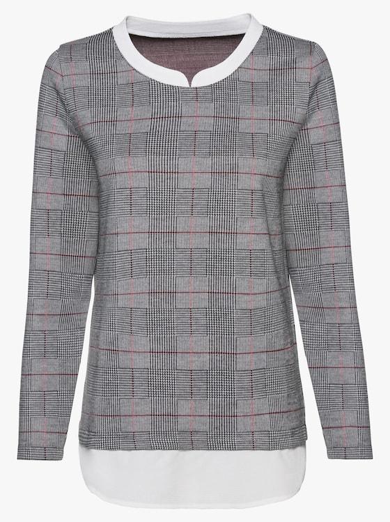 2-in-1-Shirt - schwarz-rot-kariert
