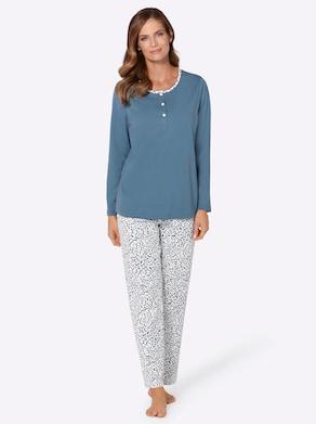 wäschepur Pyjama - jeansblauw gedessineerd
