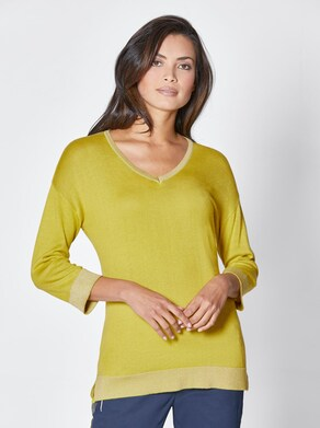 Viskose-Seiden-Pullover - gelbgrün