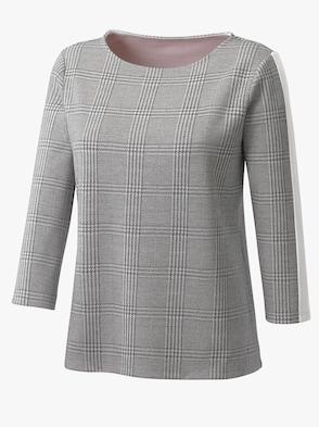 Jacquard-Shirt - grau-rosé-kariert