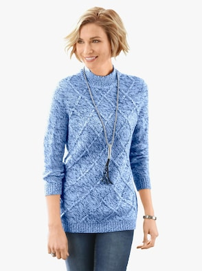 Pullover - blau-meliert