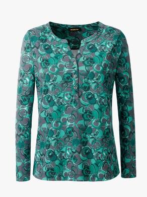 Shirt - dunkelgrün-anthrazit-bedruckt