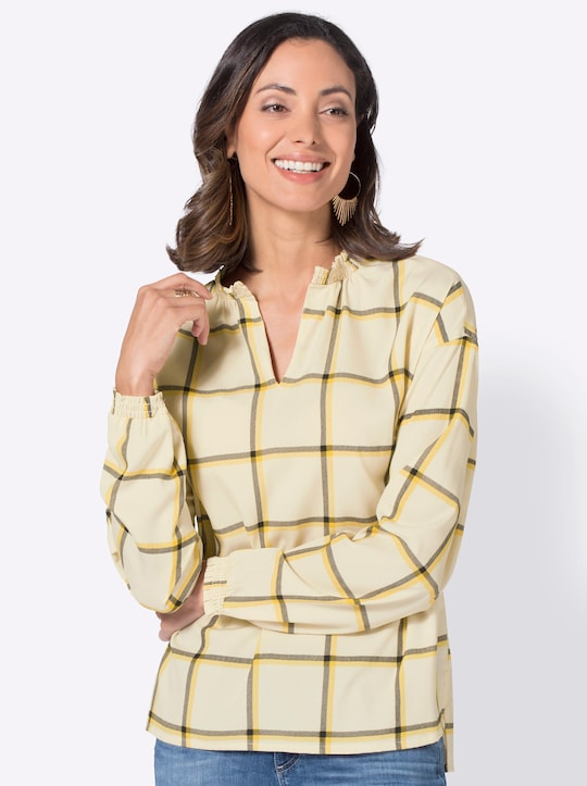 Geruite blouse - beige/geel geruit