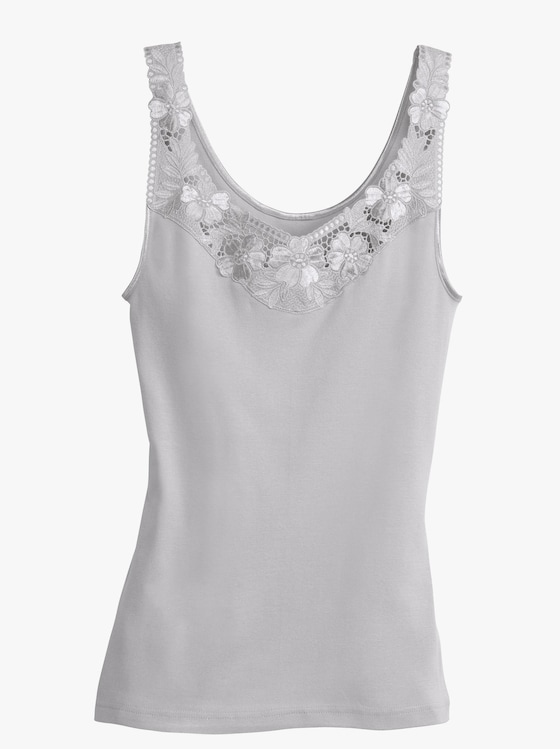 Thieme Achselhemd - weiß + silberfarben