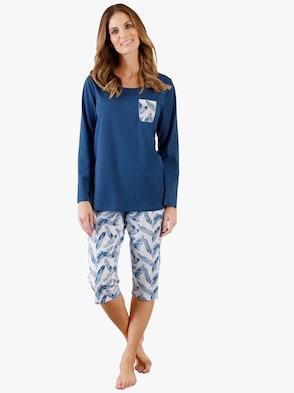 Pyžamo s capri nohavicami - modrá potlač