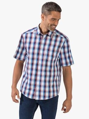 Košeľa s krátkymi rukávmi - modro-červeno-kockovaná