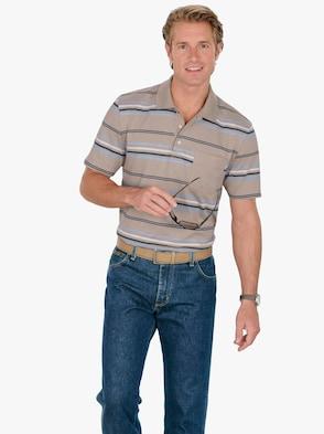 Poloshirt - beige-gestreift