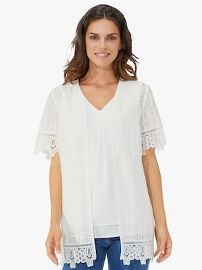 Blouseset: top + blouse - wolwit