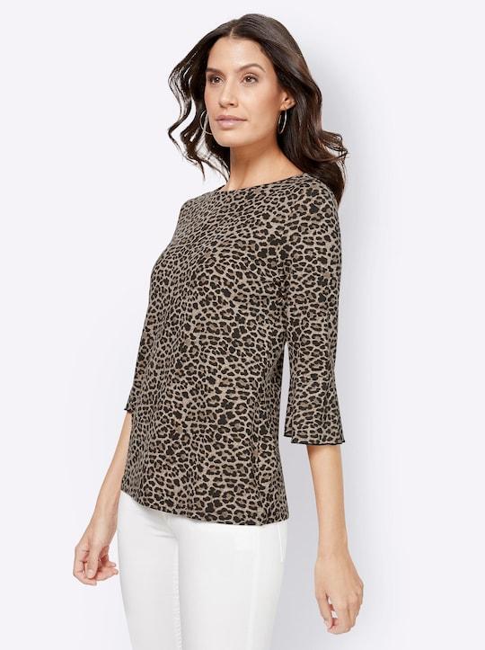 Shirt - zwart/beige geprint