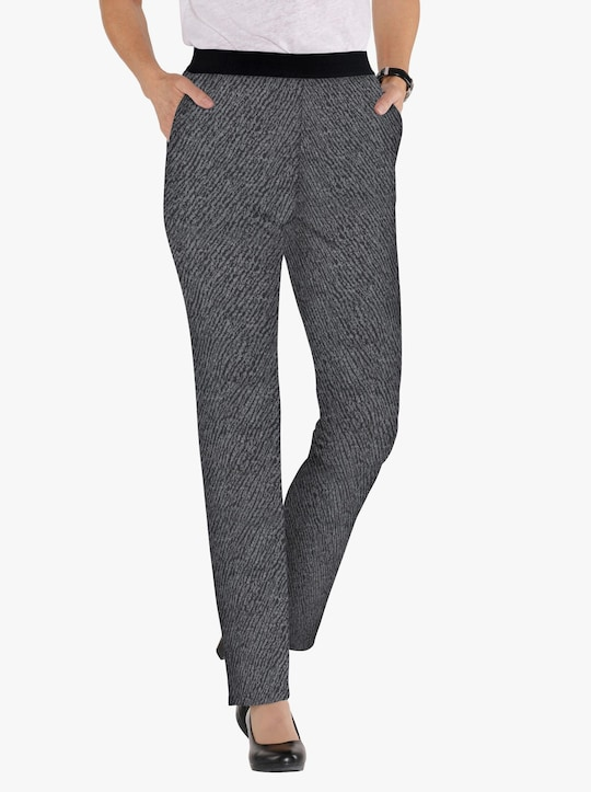 Jersey pantalon - zwart/grijs gemêleerd