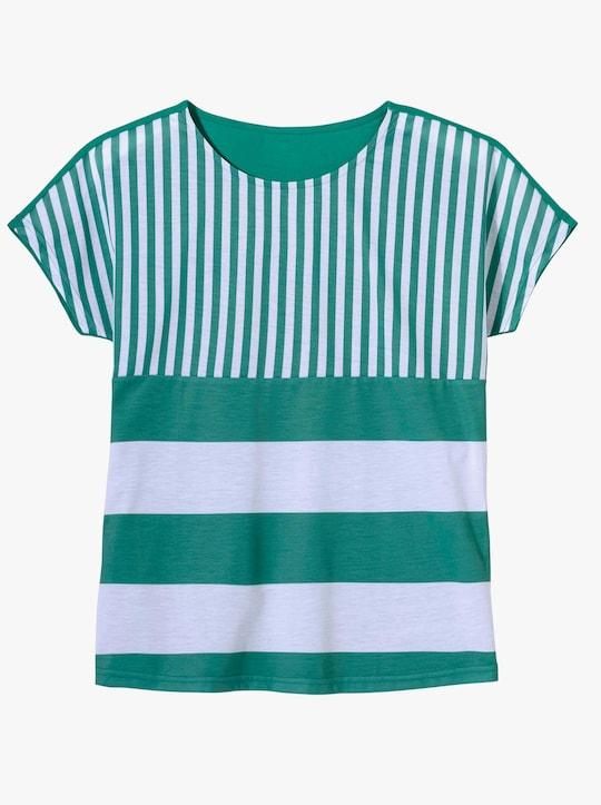 Shirt - smaragdgroen/wit gestreept