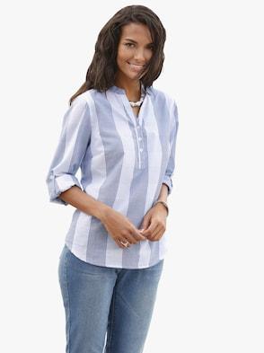 Katoenen blouse - marine/wit geruit