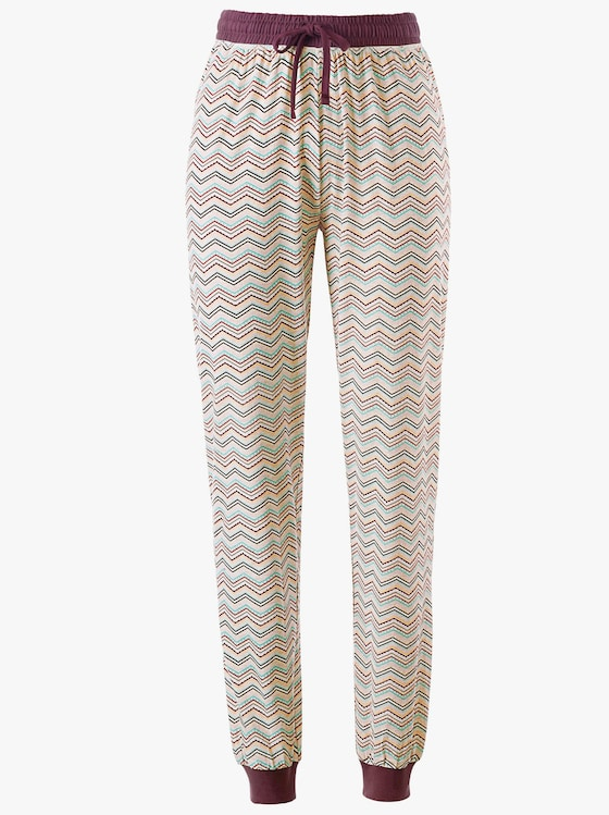 Schlafanzug-Hose - bordeaux-zick-zack