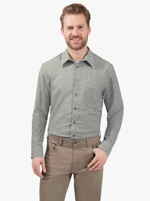 Hemd met lange mouwen - olijf gestreept