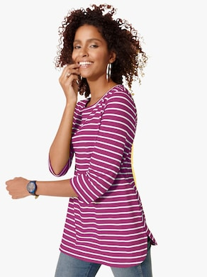 Longshirt - magenta-geringelt
