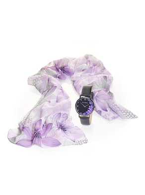 Sjaal en horloge - lila gedessineerd
