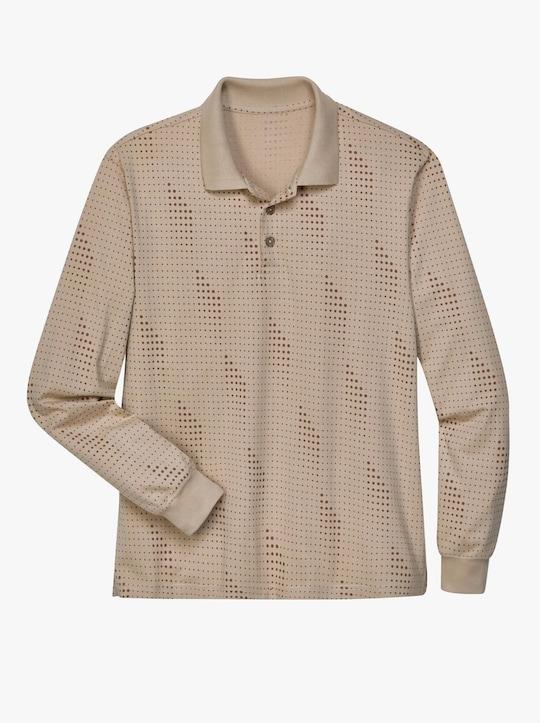 Poloshirt - beige-braun-bedruckt