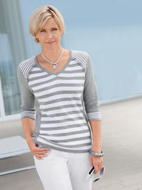 Pullover - grau-weiß-gestreift
