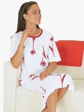 Nachthemd - bordeaux-weiß
