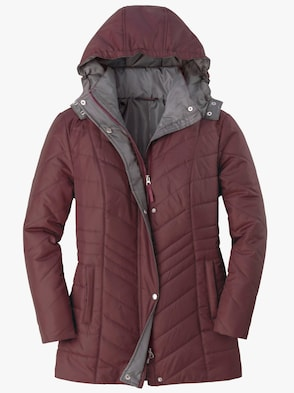 Steppjacke - bordeaux-grau