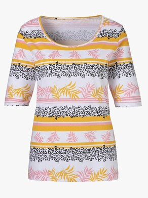 Tričko pro volný čas - bílá-okrová-plameňáková-vzor