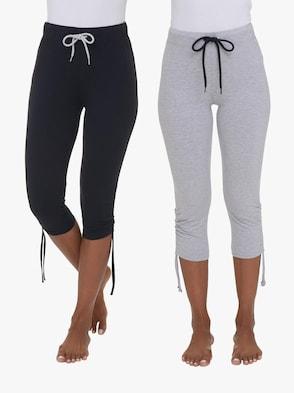 Capri-Leggings - schwarz + grau-meliert