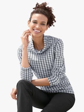 Shirt - weiß-schwarz-gemustert