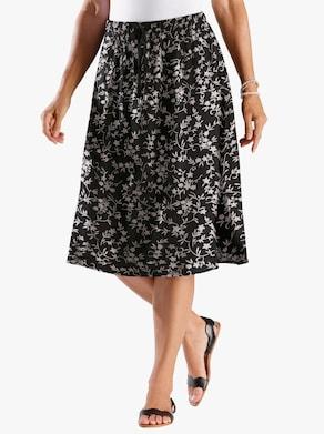 Kjol - svart-blommig