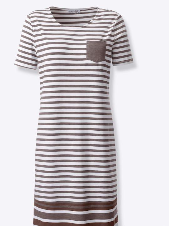 Jersey-Kleid - dunkeltaupe-weiß-gestreift