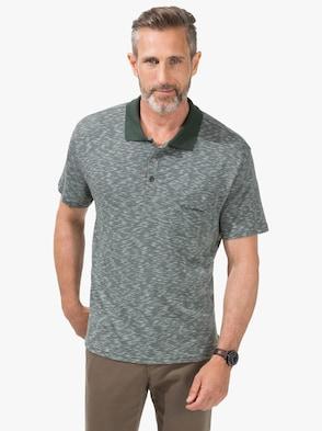 Kurzarm-Poloshirt - grün-meliert