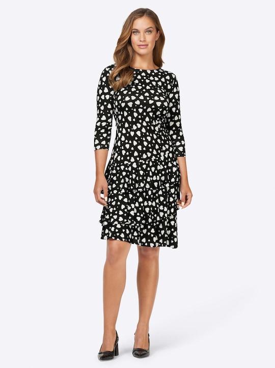 Ashley Brooke Jersey-Kleid - schwarz-weiß-bedruckt