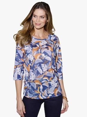 Tričko - středně modrá-vzor