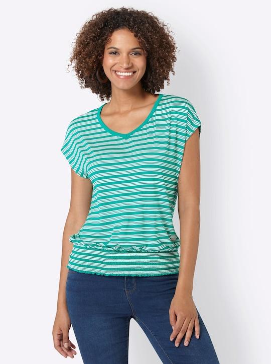 Collection L Shirt - smaragd-ecru-gestreift