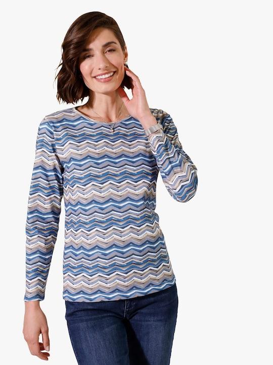 Tričko - noční modrá-béžová-potisk