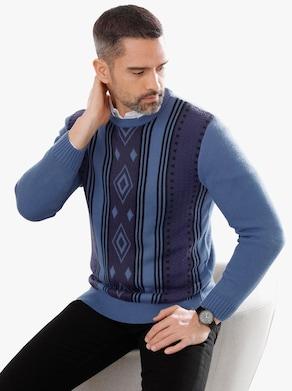 Pullover - jeansblau-gemustert