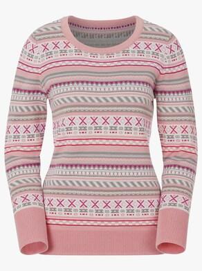 Collection L Pullover - rosé-grau-gemustert