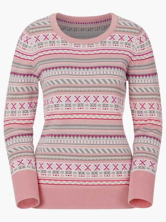 Pullover - rosé-grau-gemustert