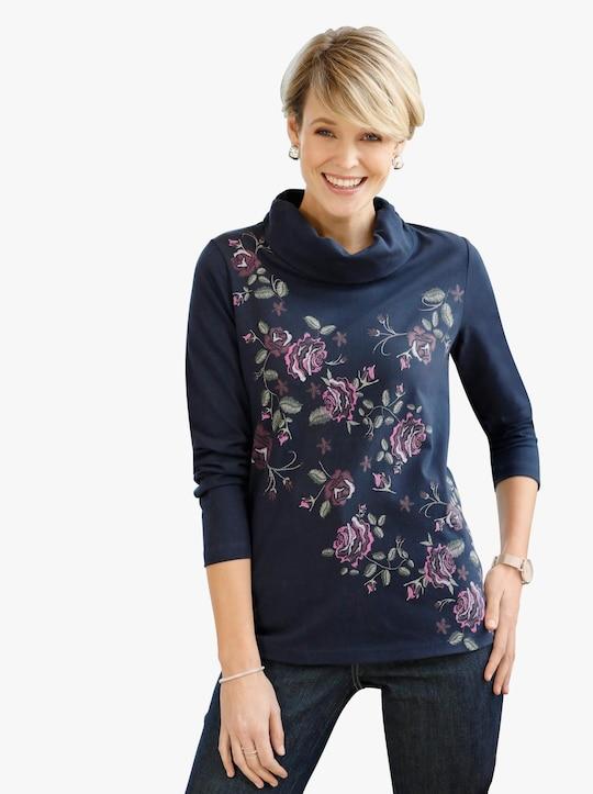 Tričko - námořnická modrá-vzor