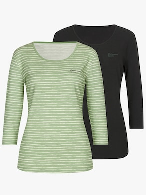 Catamaran Freizeitshirt - grün-gestreift + schwarz