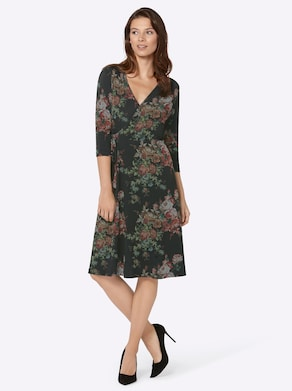 Kleid - schwarz-rost-gemustert