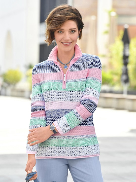Collection L Pullover - rosé-blau-gemustert