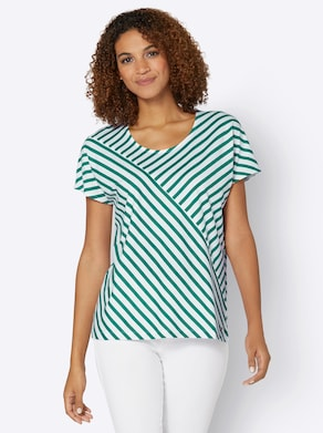 Collection L Shirt - grün-weiß-gestreift