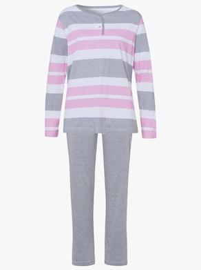 Pyjama - lichtgrijs/gemêleerd gestreept